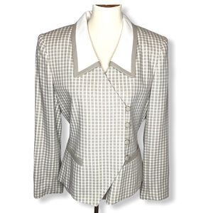 VTG Kasper ASL Tan Check Fitted Blazer Jacket Sz 8